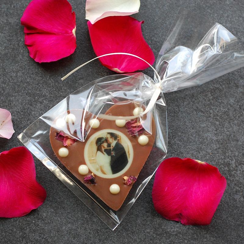 Schokoladenherz mit Topping und Fotodruck