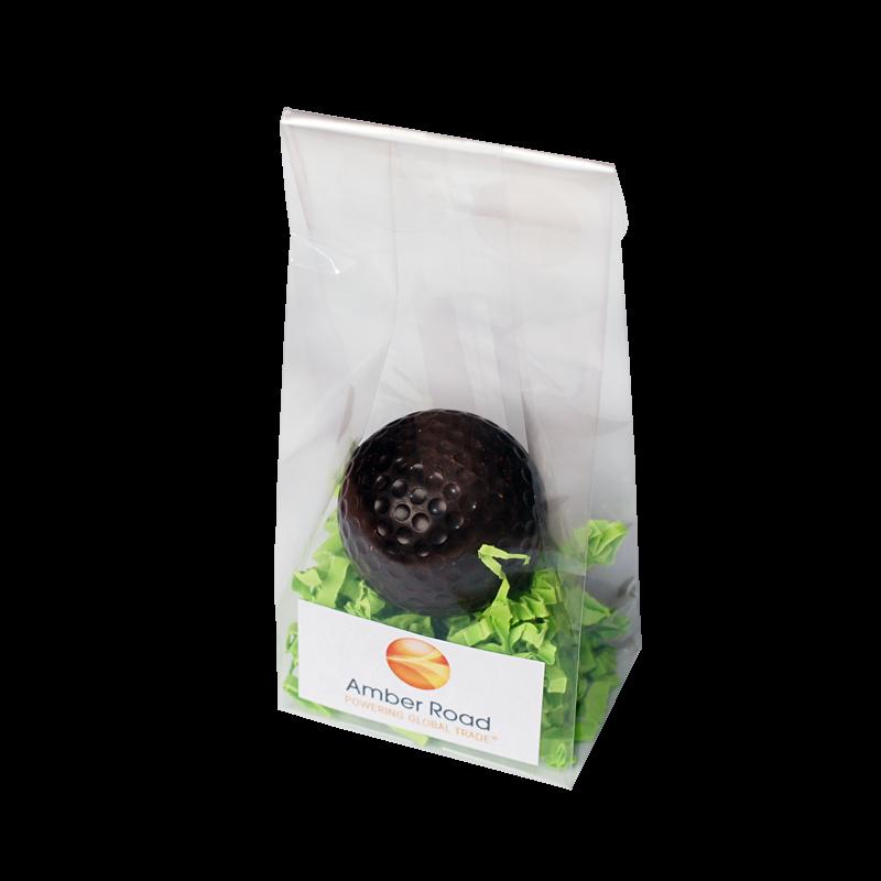 Schokoladengolfbälle auf Dekogras mit Ihrem Logo