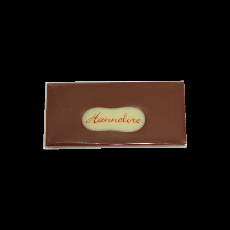 Minitafel 8x4cm Tischkarte aus Schokolade mit Gastnamen handgegossen