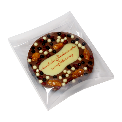 Schokoladentafel rund mit Wunschtext edel verpackt