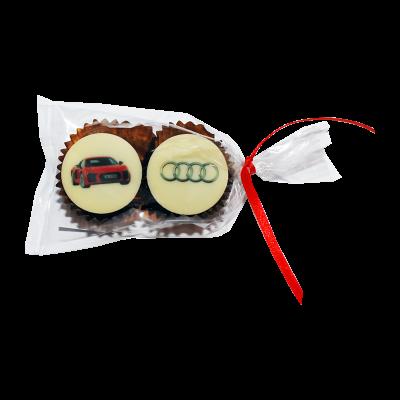 2 Logopralinen verpackt im Tütchen